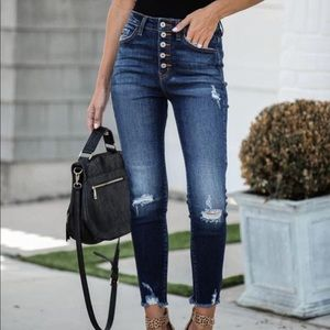 KanCan FRAYED ANKLE HIGH WAISTED SKINNY Jeans